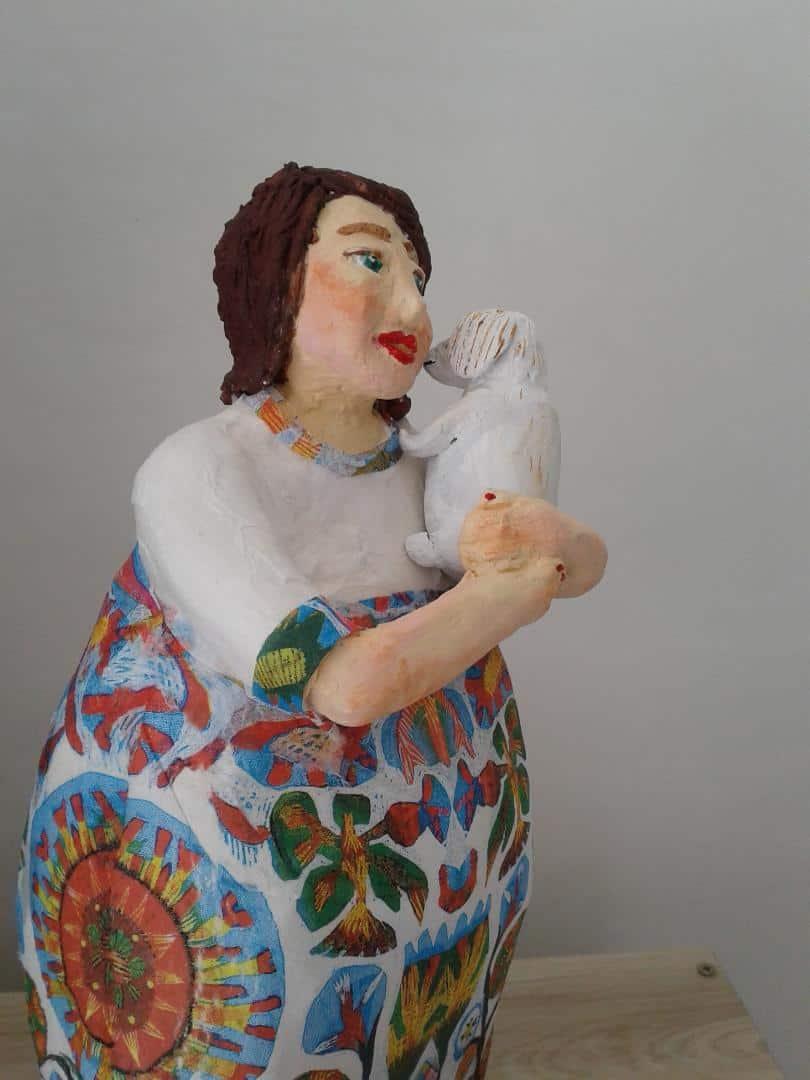 Paper mache figure with decoupage dress