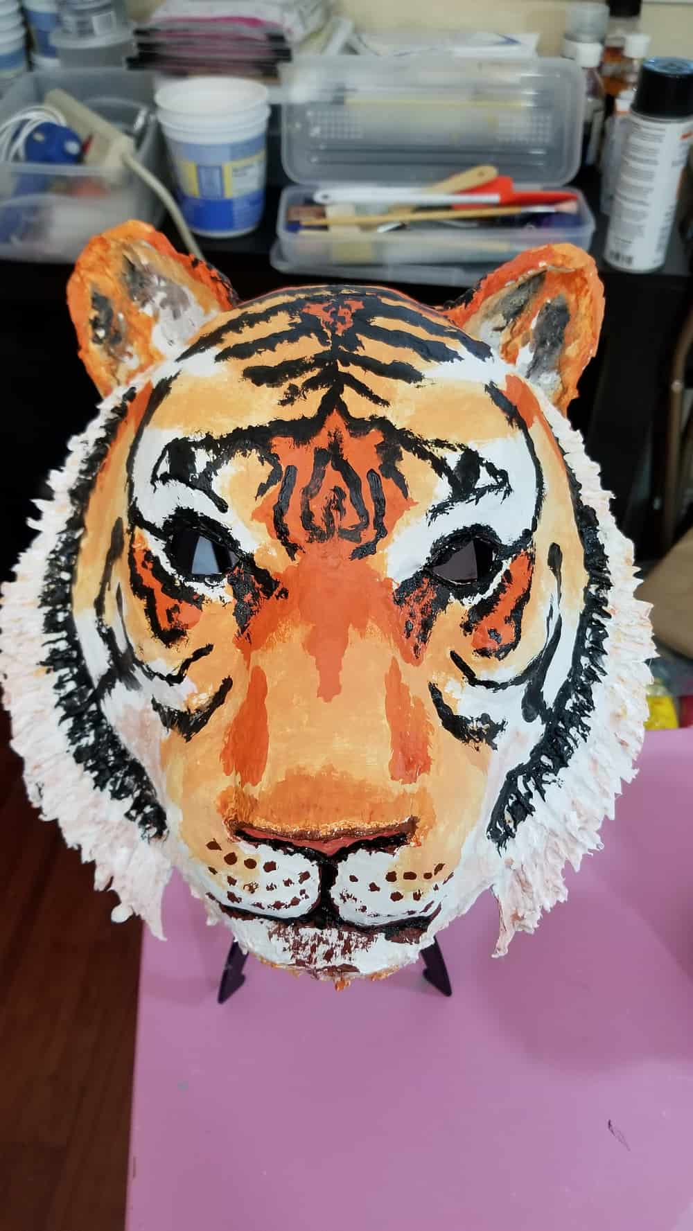 Paper mache tiger mask