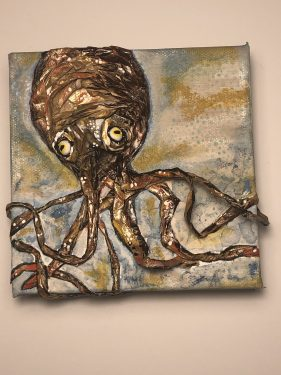 Paper mache giant squid painting