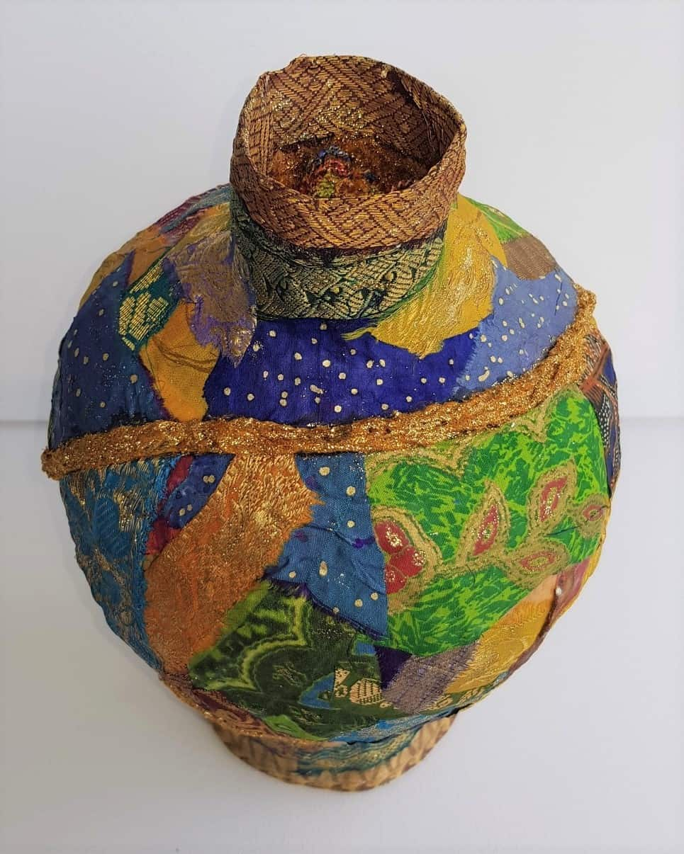Vase made with fabric mache