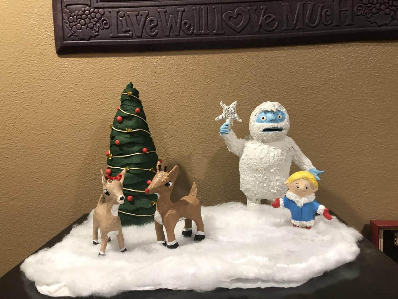 Paper mache Rudolf and snowman