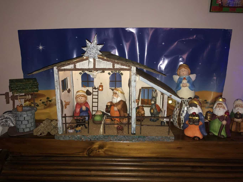 Paper Mache Christmas Scene