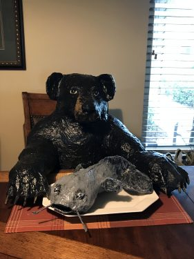 Paper mache bear and Charlie the catfish