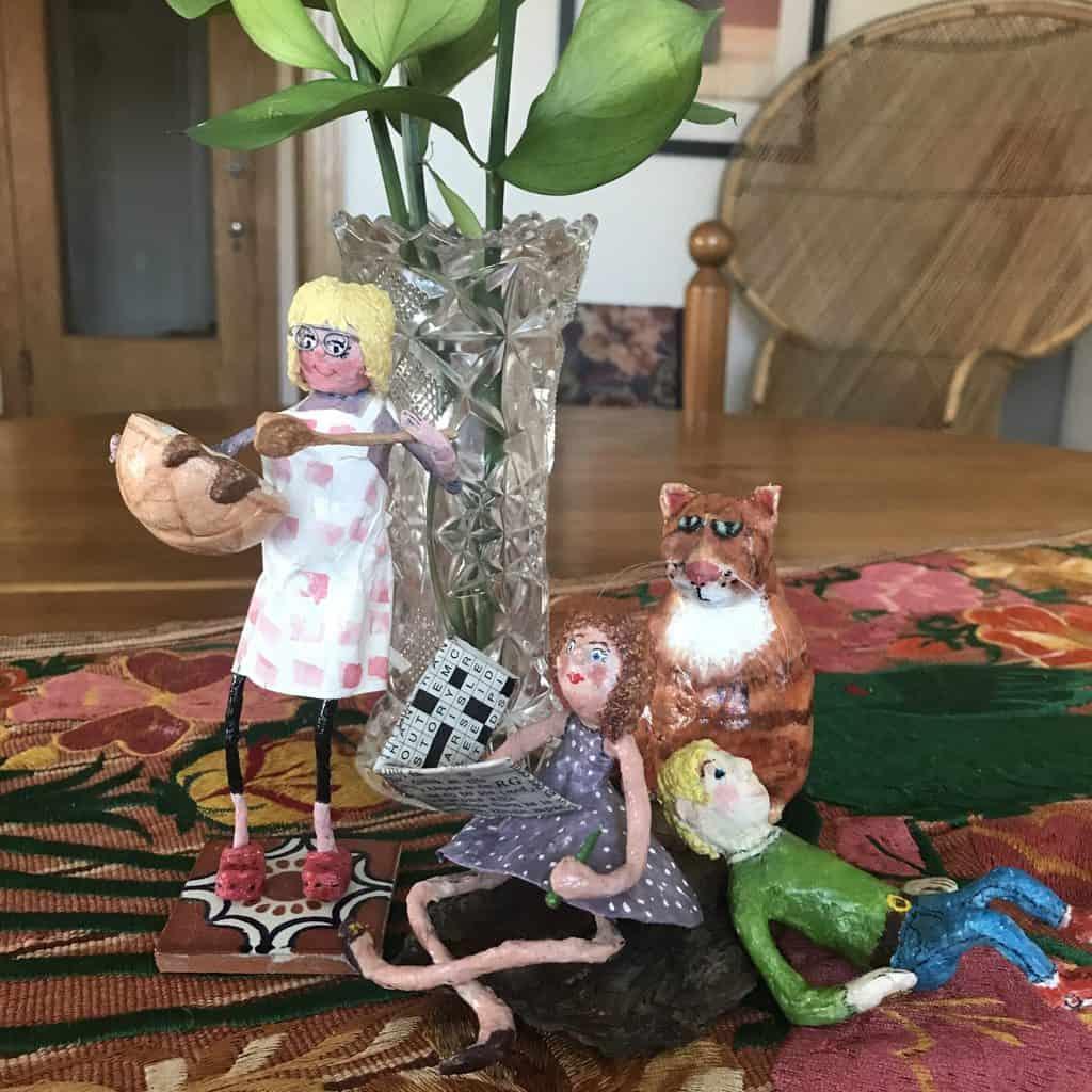"""The Gang"" paper mache sculptures"