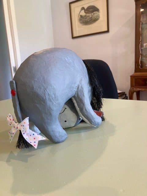 Paper mache Eeyore's Tail
