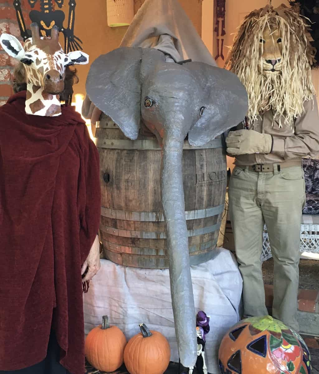 Animal masks and Elephant trunk treat delivery system...