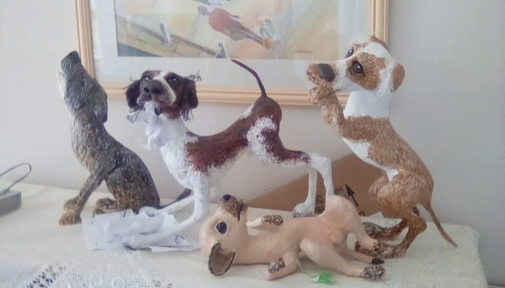 Paper mache rescue dogs