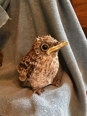 Baby bird made with paper mache clay