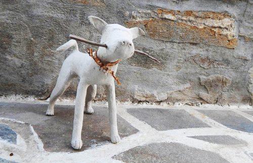 Paper mache dog sculpture