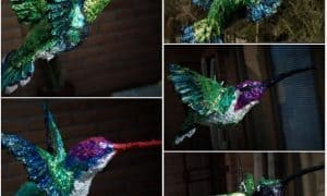 Paper mache hummingbird ornaments