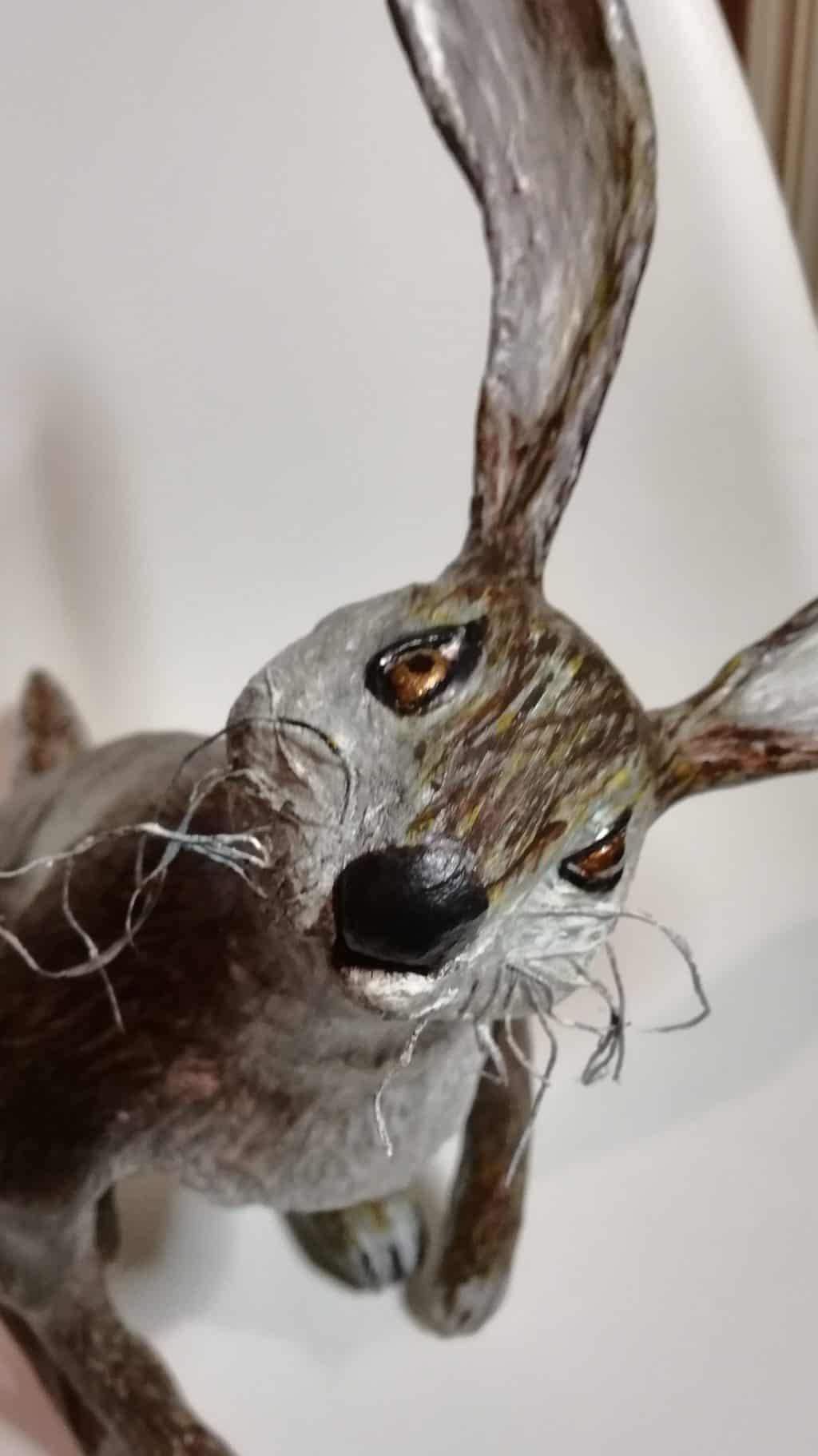 Old man hare paper mache sculpture