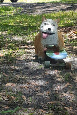 Papercrete dog with skateboard
