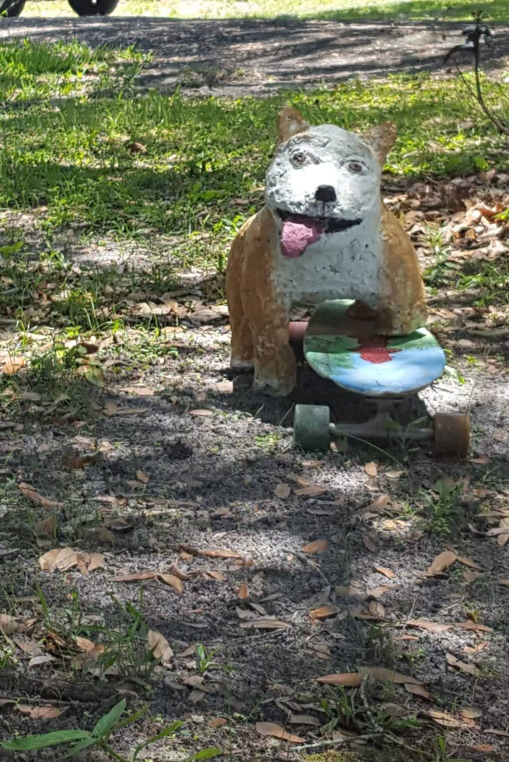 Papercrete dog with skateboard