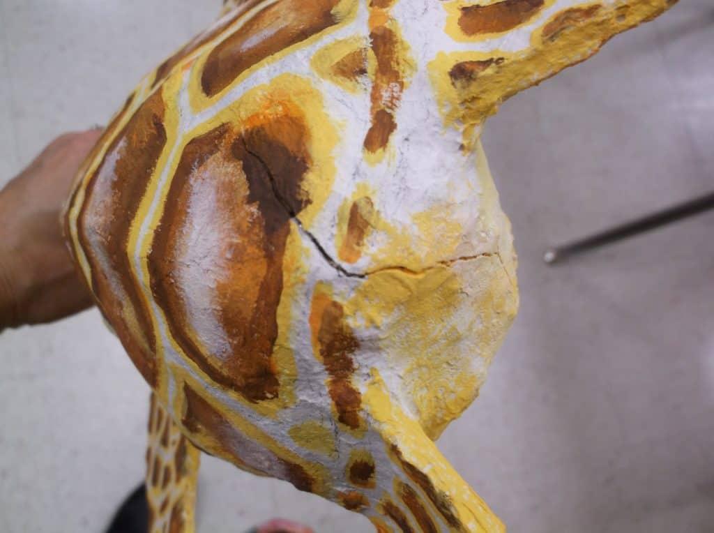 Crack in paper mache clay