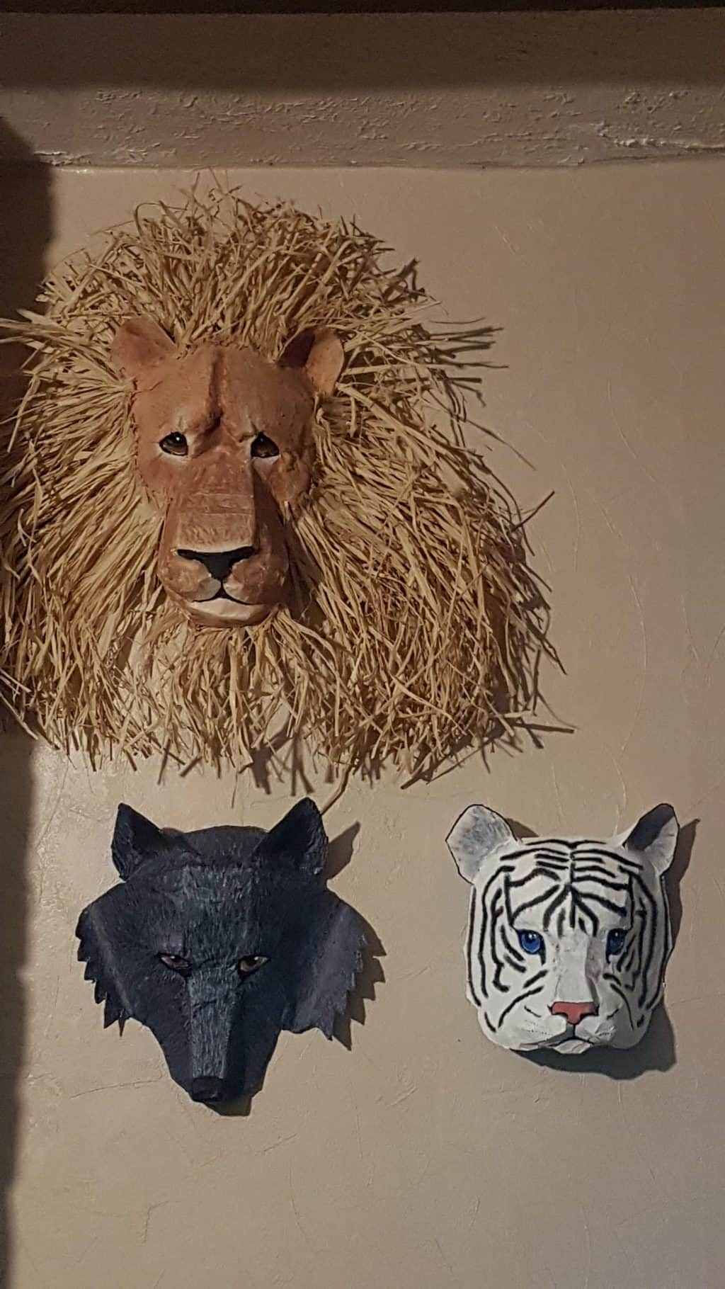 Paper mache animal masks - lion, wolf and tiger cub