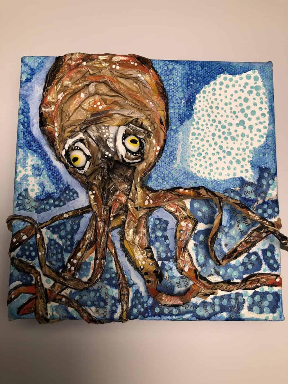 Paper mache giant squid