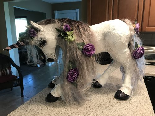 Unicorn made with paper mache clay