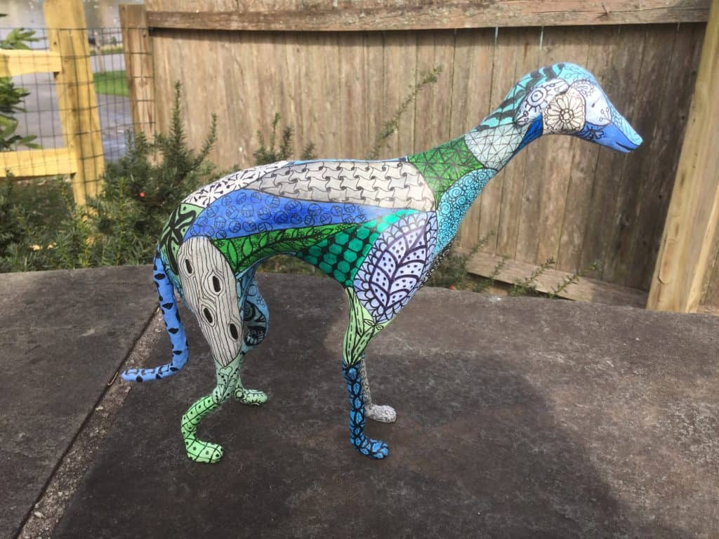 Zen doodle greyhound sculpture