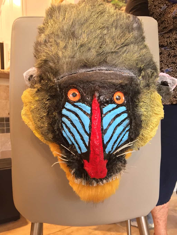 Paper mache mandrill mask
