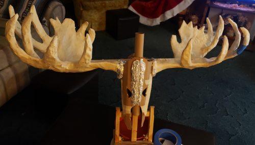 Paper mache moose skull in progress