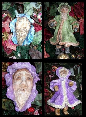Christmas ornaments made with Activa Instant CelluClay.