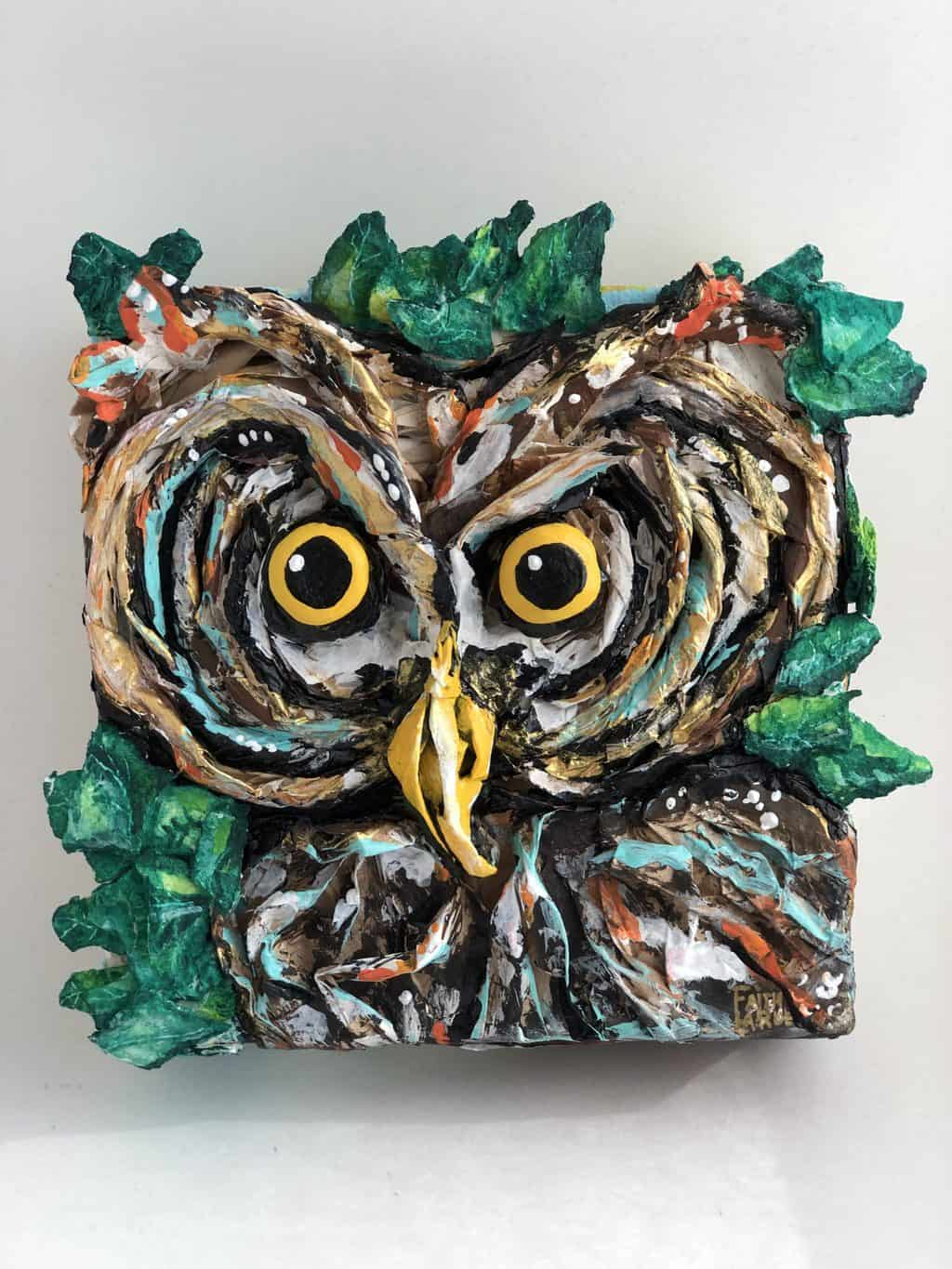 Twisted paper mache owl