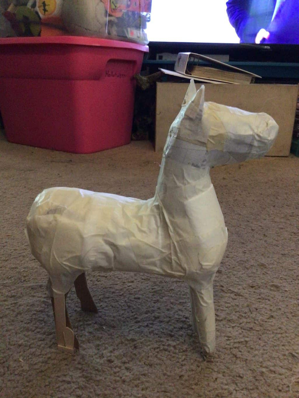 Paper mache horse, in progress