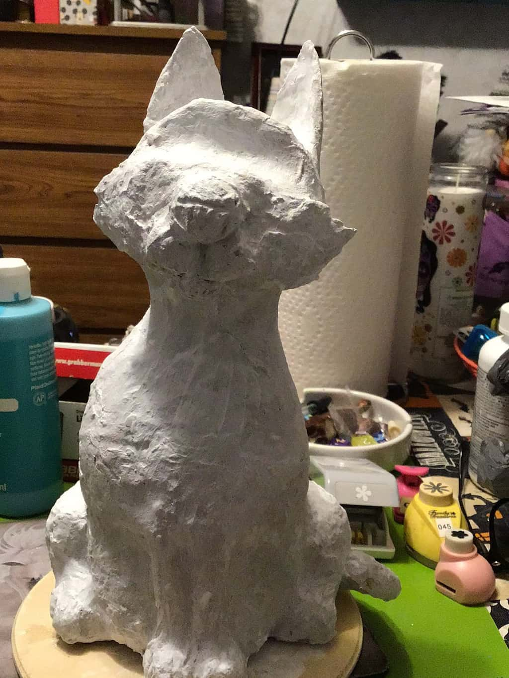 Paper mache cat, in progress