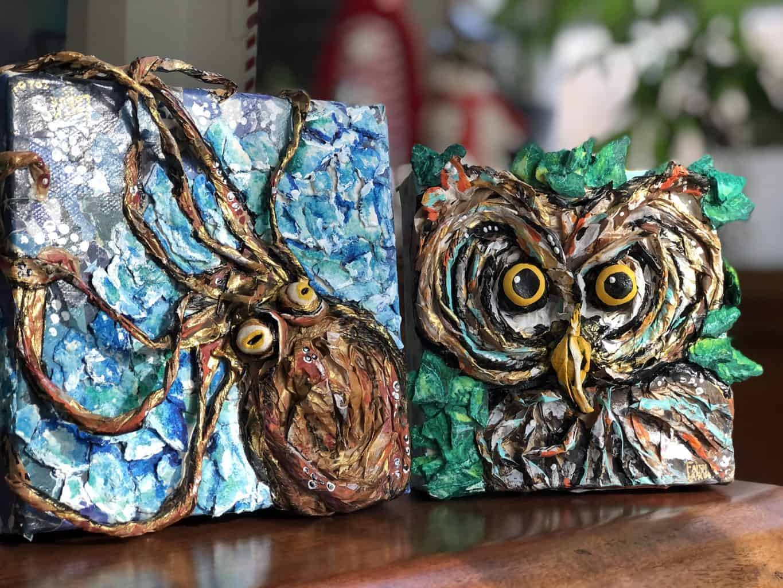 Twisted paper mache animals