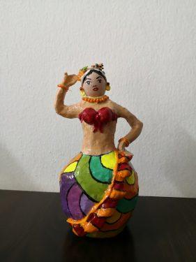 "Paper mache ""fruity lady"" figure"