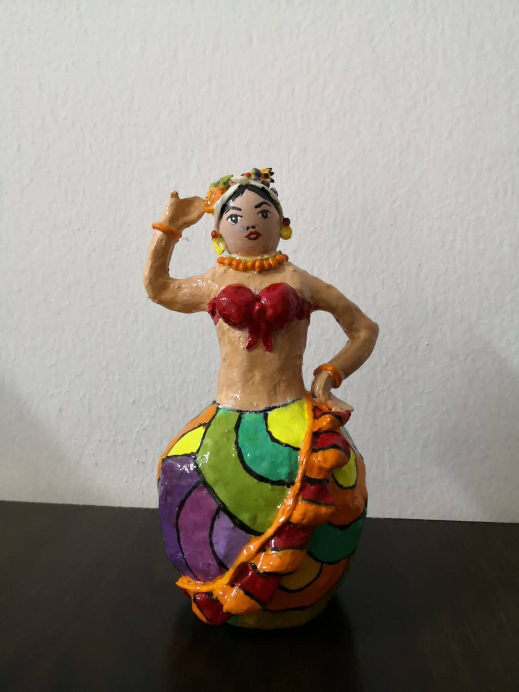 "Paper mache ""fruity lady"" figure"