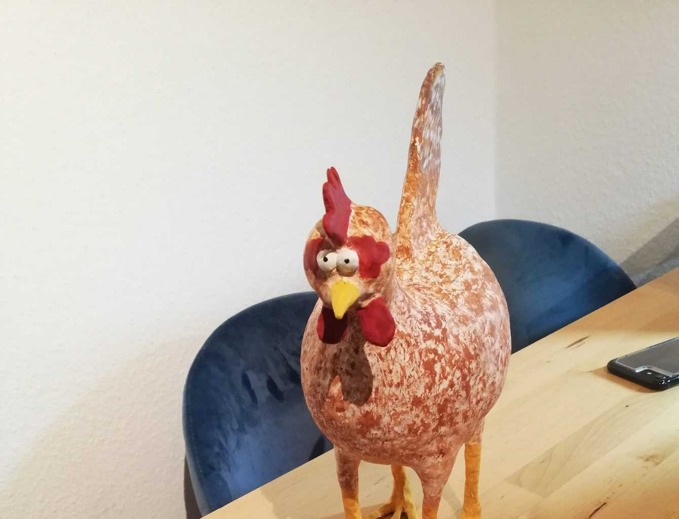 Crazy Four-Legged Chicken made with paper mache