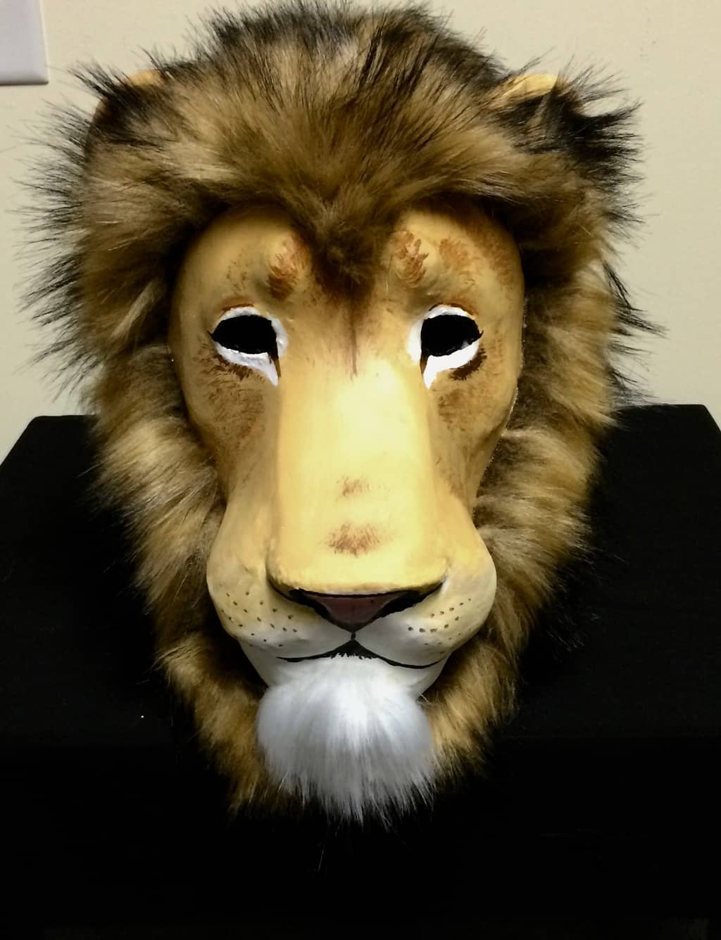 Paper mache lion mask with fake fur mane