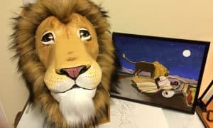 Paper mache lion mask made by Lis Muise