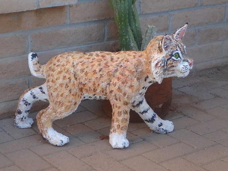 Paper mache bobcat