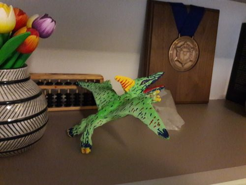 Pterodactus made with paper mache clay