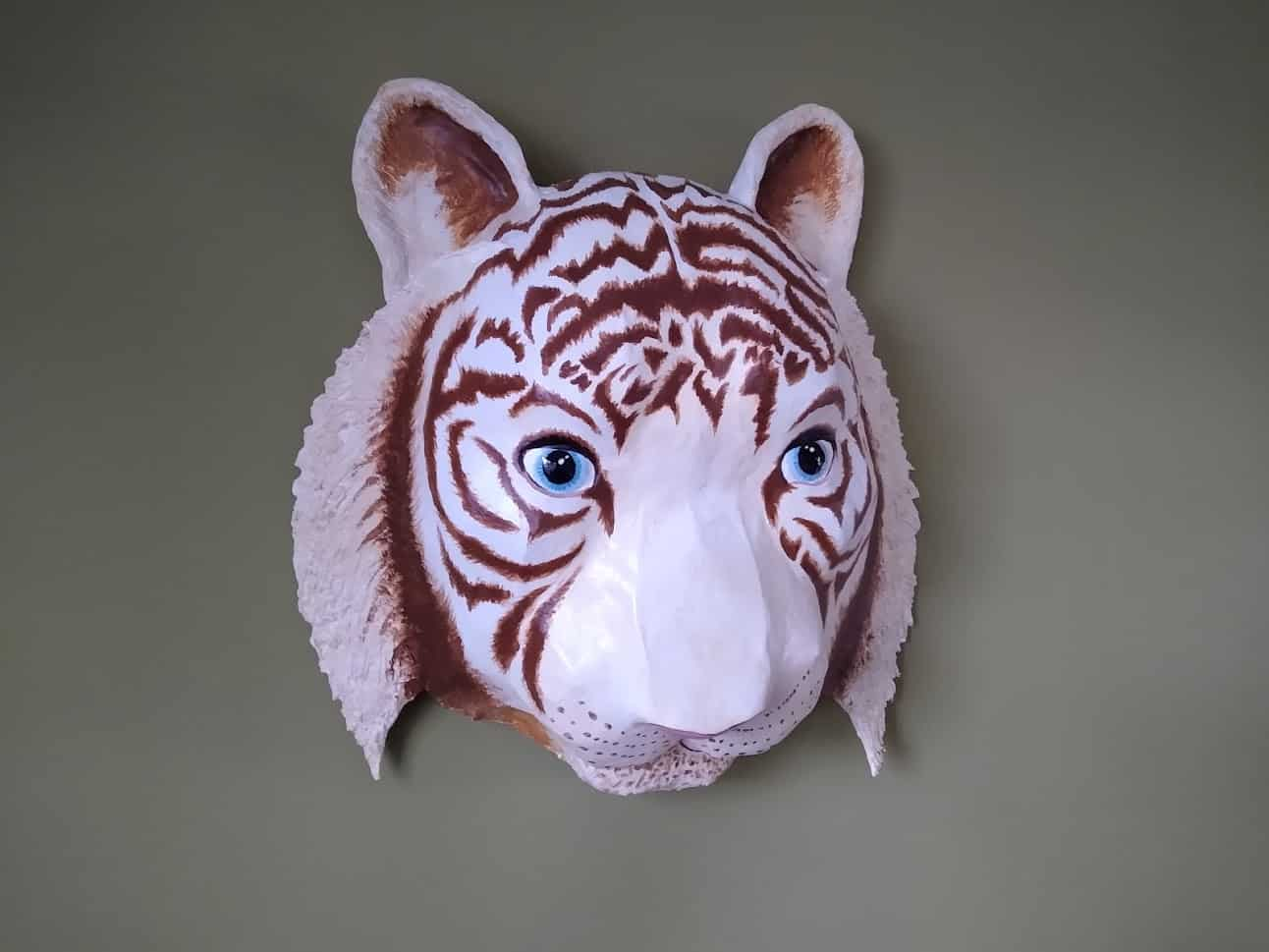 Paper mache tiger wall mask