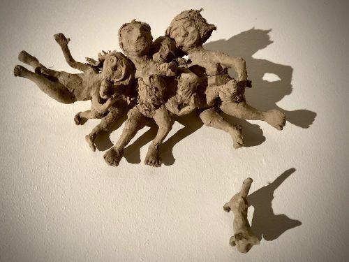 Covid Cuddle air dry clay sculpture