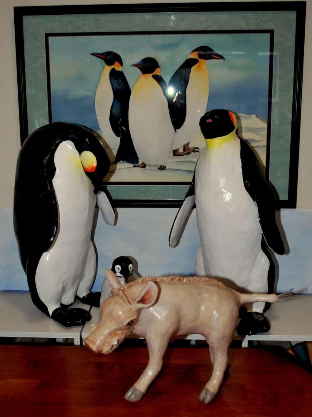 Penguins and warthog made by Rex Winn