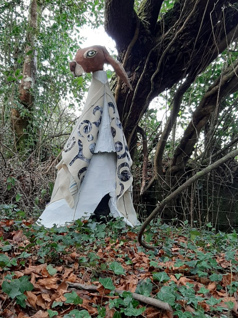 Paper mache hare for Halloween display