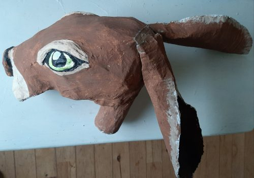 Paper mache hare for Halloween display