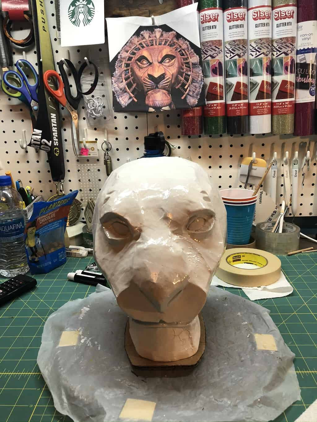 Mufasa mask before painting
