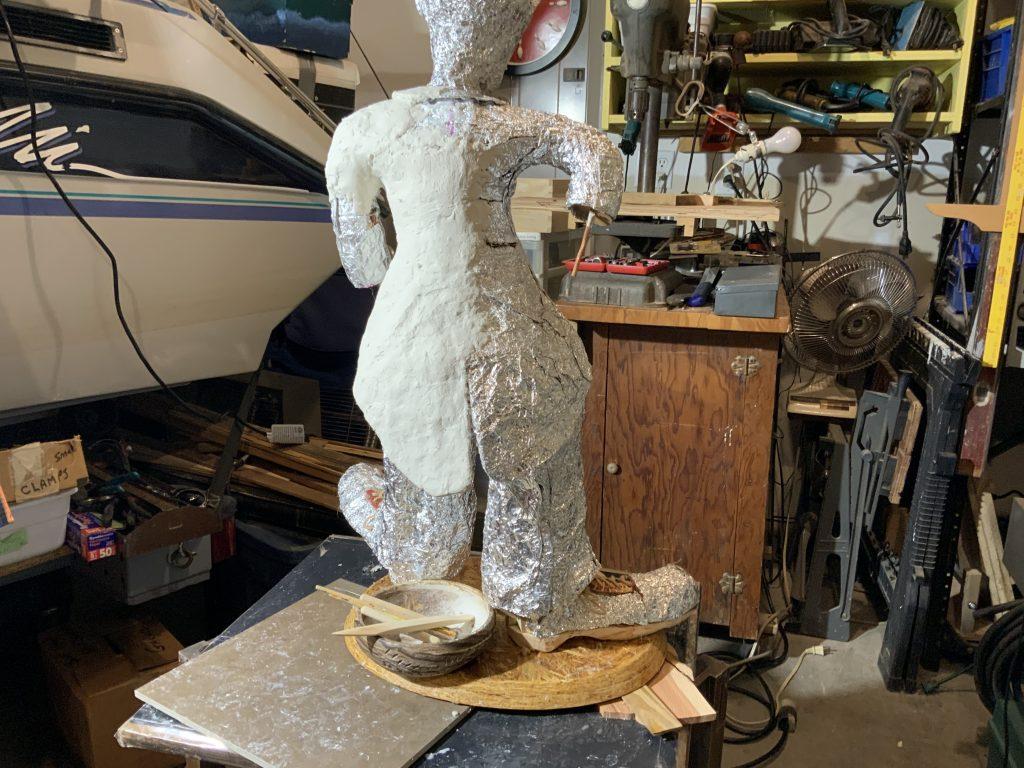 Charlie Chapliln Sculpture in progress
