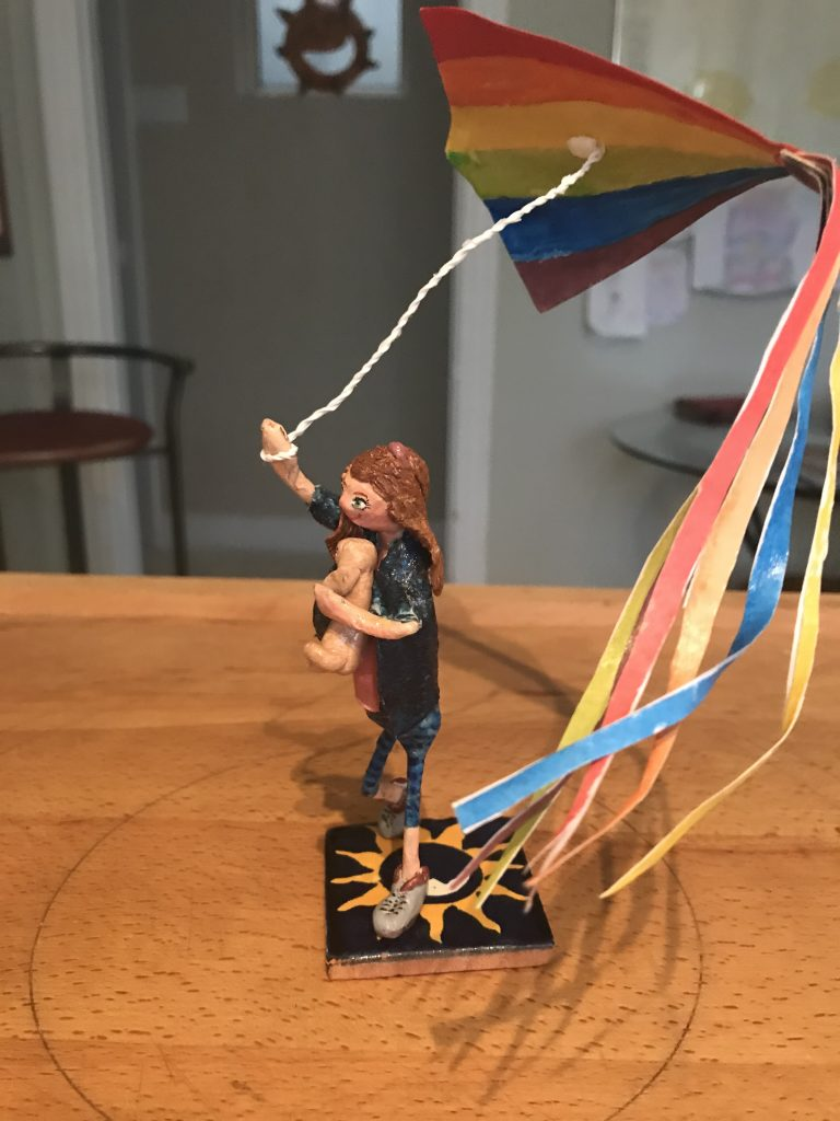 Windy Day Girl and Kite Figure Sculpture