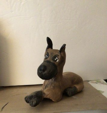 Great Dane made with Paper Mache Clay