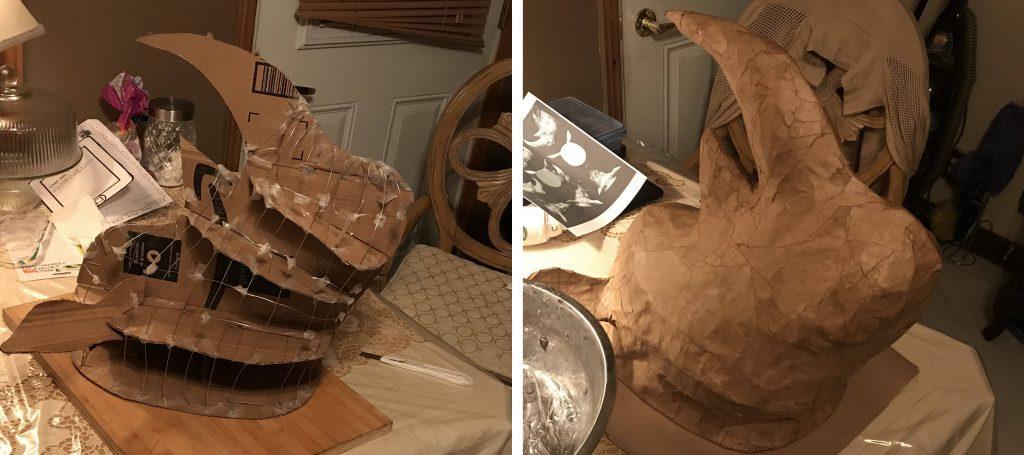 paper mache Rhino head armature.