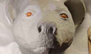Bear Head with paper mache clay, in progress