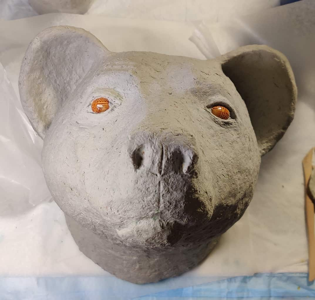 Bear Head with paper mache clay, in progress