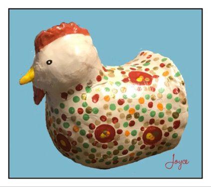 Rustic paper mache chicken