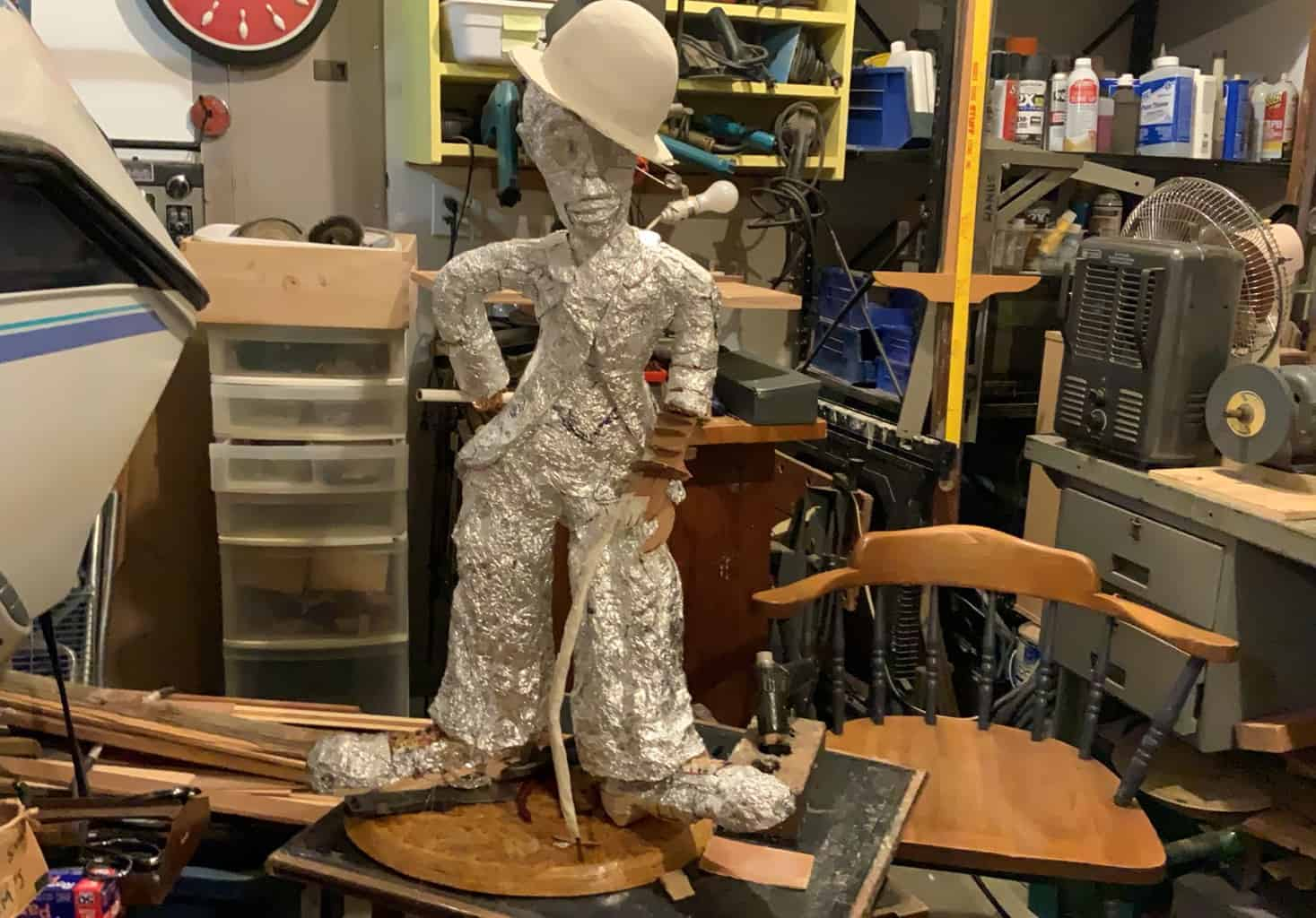 Charlie Chaplin sculpture in progress